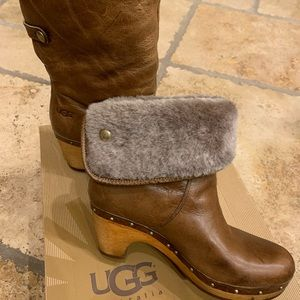 Ugg Brown Lynnea II Clog Ankle Boot Size 6
